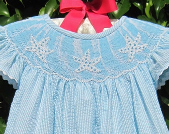 Hand Smocked Turquoise Striped Starfish Dress