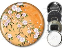 Japanese Floral Mirror, Floral Refrigerator Magnet, Bottle Opener Key Ring, Pin Back Button, Makeup Mirror, Floral, Orange and White Flowers