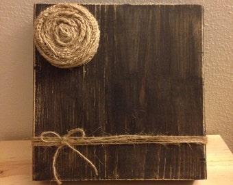 Rustic Wood Photo Frame with Twine Holder & Burlap Flower (Black)