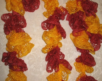 Red & Yellow crochet boa