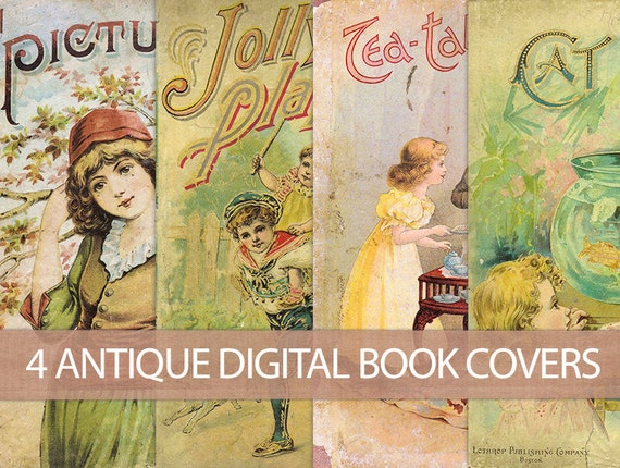 Children S Book Covers To Print ~ Digital vintage book covers instant download antique