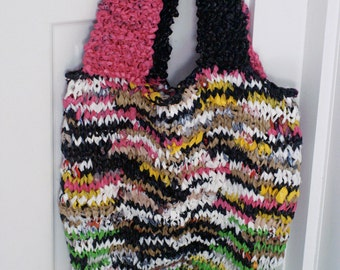 Large Hand-knit Colorful and Unique Plarn Bag