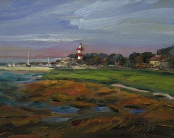 "Holiday Memories. Harbor Town Golf Club, Hole #18, Hilton Head SC - ""Safe Harbor"". Print of original Oil Painting."