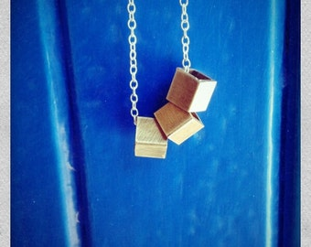 fine silver chain and  brass cube necklace, simple and minimal short necklace
