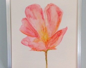 Pink Poppy Original Watercolor on paper Original Flower Painting
