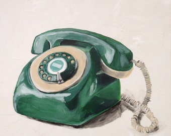 Vintage Green Phone Original Painting by Andrea Holmes