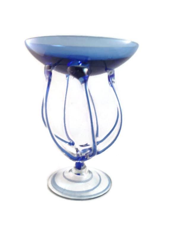 Krosno Jozefina Hand Blown Art Glass From Poland Cobalt Blue