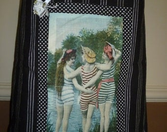 Hand Made Vintage 'Bathing Belles' Cotton Beach Tote Bag
