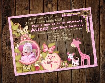 Jungle Animal Safari First Birthday Invitation -  On wood background - Printable DIY