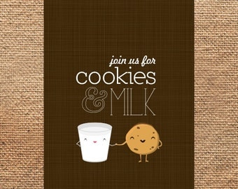 Printable illustrative birthday invites // cookies & milk
