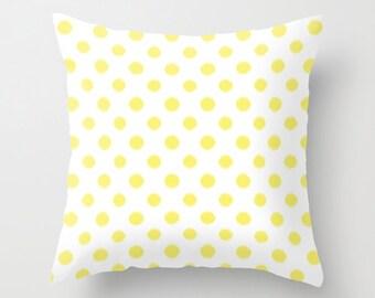 Yellow Pillow, Ikat Pillow Covers, Velvet Cushion, Polka Dot Pillow, Girls Bedroom Decor, Tween Room Decor, Teen Girl Room Decor, Dorm