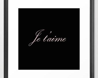 Je T'Aime Print - Paris Canvas Art - Paris Print - Black - Pink - Wall Decor - Paris - Wall Decor - Girls Wall Art - Teen Wall Art