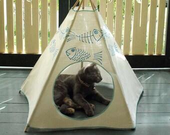 Cat Bed - Cat Teepee - Cat Tent - Sky Blue Kiteepee
