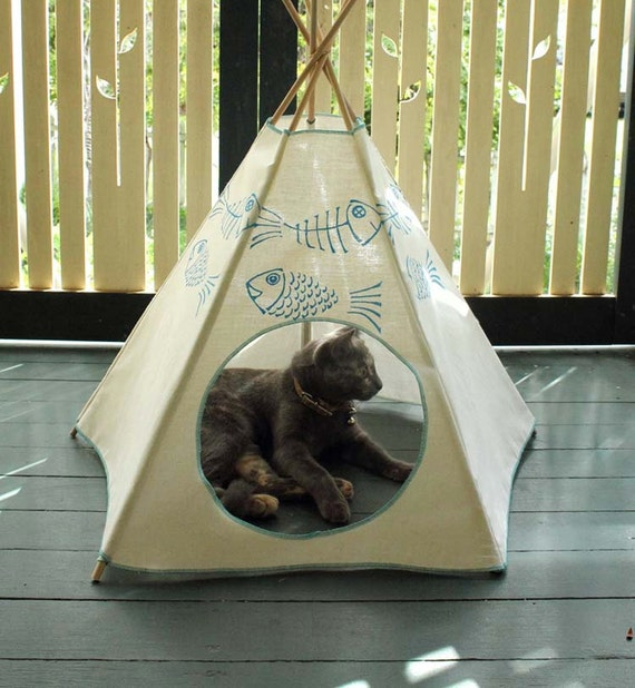 Cat bed cat teepee cat tent sky blue kiteepee for Diy cat teepee
