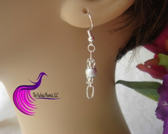 """Delicate silver drop earrings, made to compliment my necklace """" I can do everything through him who gives me strength"""""""