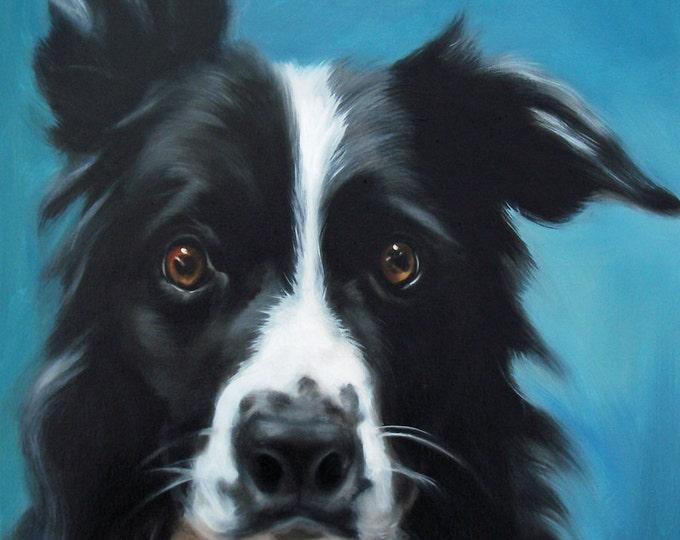 "Border Collie Dog Art Painting Print - ""Bright Eyes"""