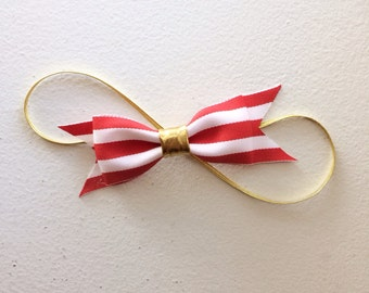 The Betty red and white striped bow Headband