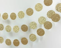 Gold Circle Garland - Gold Wedding Decor - Gold Glitter Garland - Gold Bridal Shower