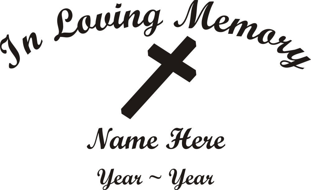 In Loving Memory Cross Memorial Window Decal/Sticker