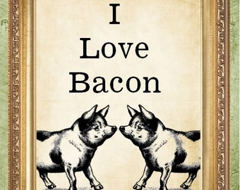 Kitchen Wall Decor Bacon Art Print Funny I Love Bacon Print MHP Original