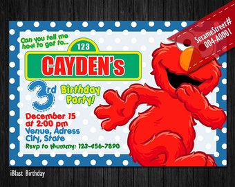 Elmo Invitation, Sesame Street Invitation for Elmo Birthday, Personalized Digital file - Elmo Sesame Street birthday or Elmo baby Shower