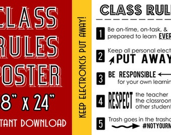 Class Rules Poster | Instant Download | No Electronics