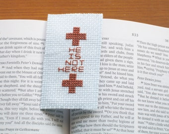 Cross stitch bookmark Easter resurrection hope embroidery  Jesus hope brown pale blue Christianity celebration He Is Not Here needlepoint