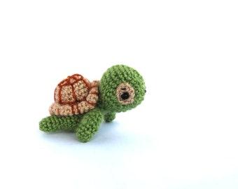 crochet mini turtle, amigurumi miniature turtle, little stuffed tiny turtle toy, crochet kawaii animal, green toy for children, olive green