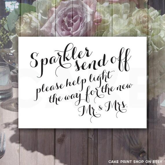 Sparkler Send Off Printable Wedding Sparkler Sign Sparkler