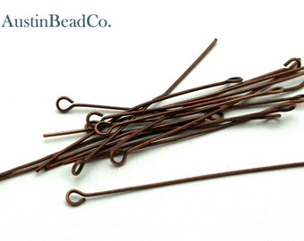 50pcs Eye Pin, 50mm, Copper, Jewelry Findings, Handmade Jewelry Supplies -  21 Gauge,  0.7 X 50mm (I067)