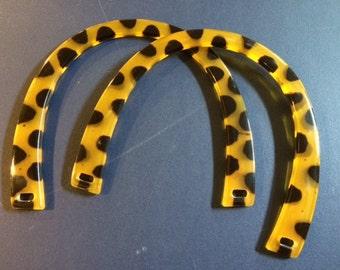 Plastic purse handles - amber with dark brown spots, 1 pair