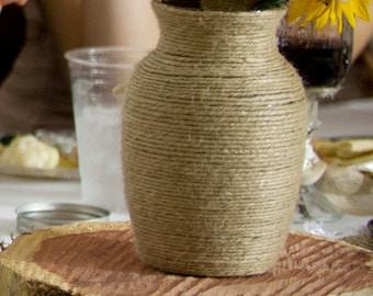 Twine Wrapped Burlap Vases