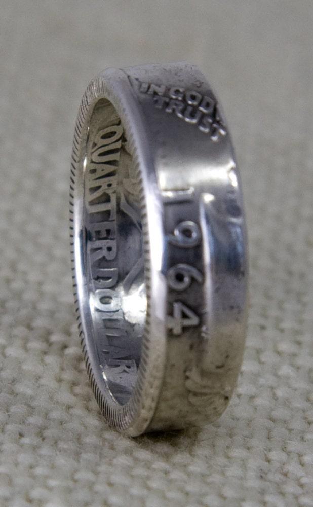 1964 90 silver coin ring washington us quarter dollar