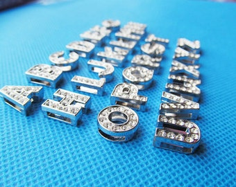 8mm Silver tone Capital Letter Slider Spacer Beads Pendant Charm/Finding,Dotted Around Rhinestone,for Bracelet & Necklace