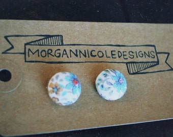 Flowered Fabric Button Earrings