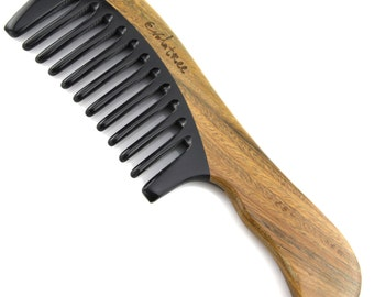 """Evolatree - Elegant Natural Handcrafted Comb - Wide Tooth - Lignum Vitae Wood & Ox Horn - 7.5"""" (2-9WH)"""