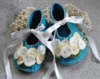 Turquoise Wool Felt Flower Shoes Size 1