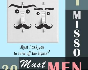 Cute lightswitch Mustache Men wall Sticker Decals