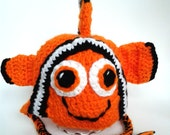 Crochet baby clownfish hat, Nemo hat, NB-3 months, 3-6 months, 6-12 months, 12-24 mo, 3-9yrs boy hat, girl hat, Finding Nemo hat, photo prop