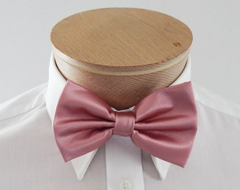 Mens Bowtie Dusty Rose Solid Mans Banded Pre Tied Bow Tie
