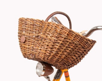 Handmade natural wicker bike basket, Rustic