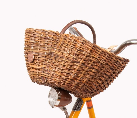 Handmade Bicycle Baskets : Handmade natural wicker bike basket rustic by bikebellecom
