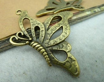 10pcs 36x43mm  Antique bronze Butterfly Charms Pendant trays Jewelry Findings  bC2834