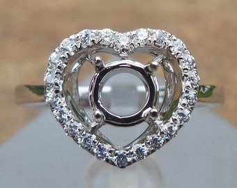 Round 5MM Solid 14K White Gold Semi Mount Ring / Diamond Ring / Engagement Ring