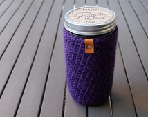 Pint + Half / Mason Jar Cover / Mason Jar Cozy / Mason Jar Sleeve / Wide Mouth Mason Jar - Hot Springs Purple