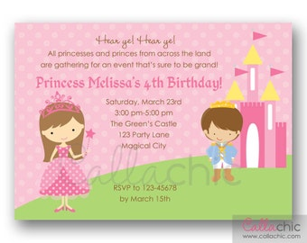 Princess Birthday Invitation PRINTABLE - with Prince and Castle in Pink Polka Dot Background