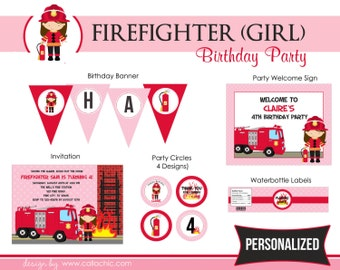 Firefighter Girl Birthday Party Package PRINTABLE - Pink and Red Fireman with Fire Truck / Fire Engine