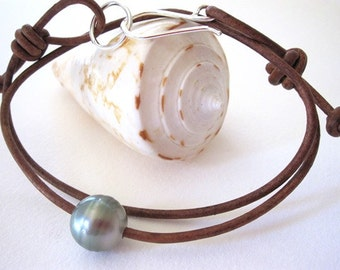 Tahitian Pearl Leather Bracelet, Leather Pearl Choker Necklace, Sterling Silver and Pearl Necklace, Leather Wrap Bracelet, South Sea Pearl
