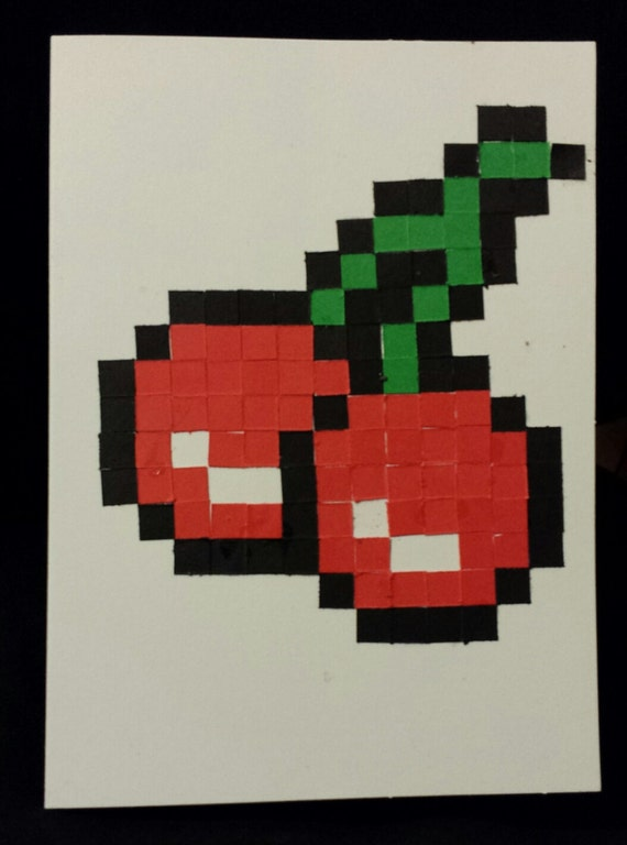 Items Similar To Handmade Pacman Pixel Cherries Card On Etsy