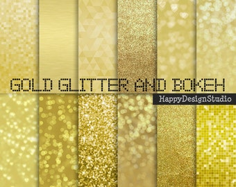 "Gold glitter digital paper pack, 12""x12"", commercial use, instant download"
